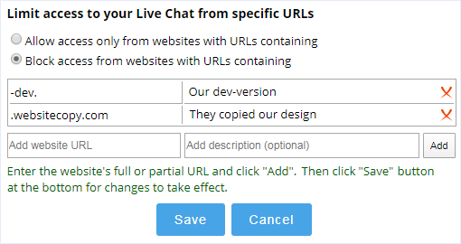 Chat access limitation by website
